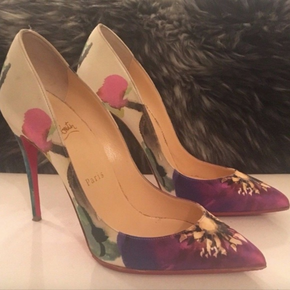 purchase cheap 18709 eaf40 Authentic Louboutin White Floral Follies Pumps 38